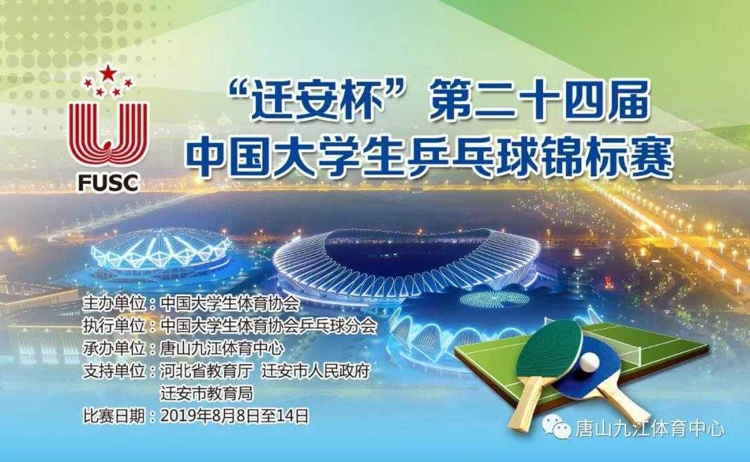 第二十四届中国大学生乒乓球锦标赛在河北省迁安市唐山九江体育中心开幕